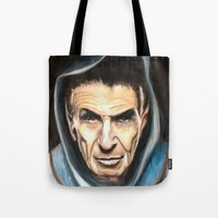 spock Tote Bags featuring Spock by James Kruse