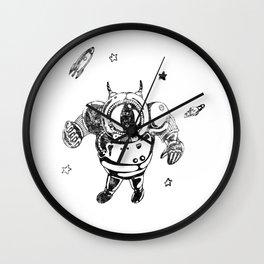 Funny Galaxy Space Black Astronaut Cosmonaut Spaceman Wall Clock