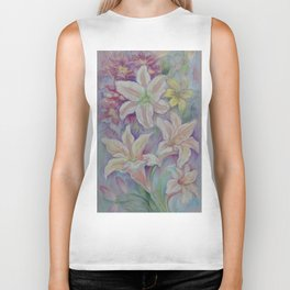 White Lilies in the Garden Purple pastel colors Flowers Floral  pastel drawing Biker Tank