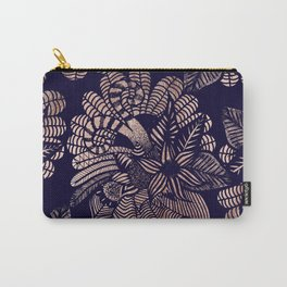 Elegant Rose Gold Floral Drawings on Navy Blue Carry-All Pouch