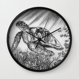 Sea Turtle Swimming and coral by annmariescreations Wall Clock
