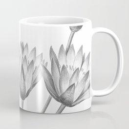 Water Lily Black And White Coffee Mug