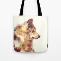 wolf Tote Bags featuring Wolf // True by Amy Hamilton