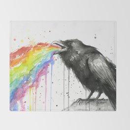 Raven Tastes the Rainbow Throw Blanket