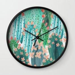 Colorful watercolor cacti Wall Clock