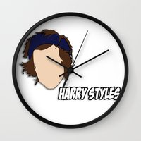 harry styles Wall Clocks featuring HARRY STYLES by SaladInTheWind