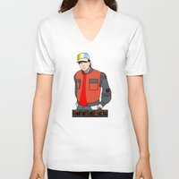 mcfly V-neck T-shirts featuring Marty McFly by Pendientera