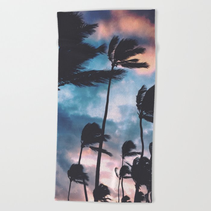 Palm trees at sunset Beach Towel