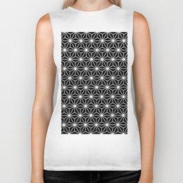 Geometric Flowers Isosceles Triangle White Line Biker Tank