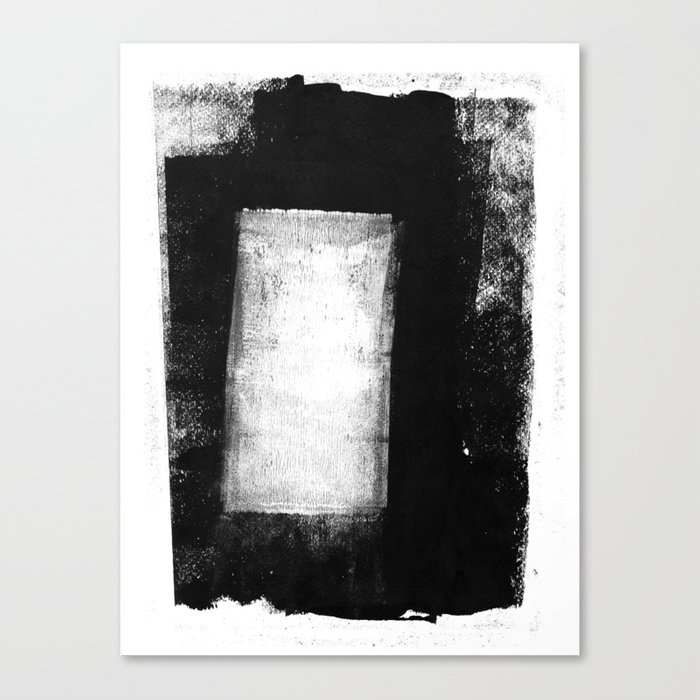 White Rectangle Black And White Minimalist Abstract Painting Canvas Print By Mininst