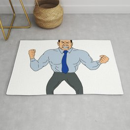 Angry Businessman Cartoon Rug