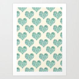 Emerald Brocade Paisley Heart Pattern Art Print