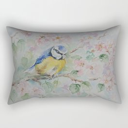 BLUE TIT Spring blossom and the little bird Wildlife watercolor painting Rectangular Pillow