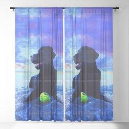 Ziggy Black Labrador Sheer Curtain