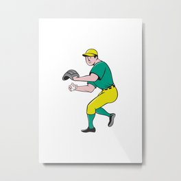 American Baseball Player OutFielder Throwing Ball Cartoon Metal Print