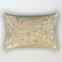 Vintage Map of Dublin Ireland (1914) Rectangular Pillow