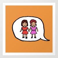 Emoji - Girl Buddies / Sisters Holding Hands Art Print