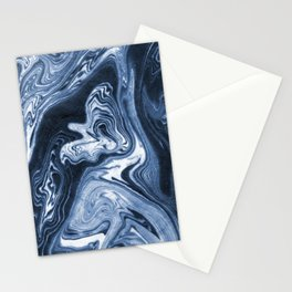 Ren - indigo ink india ink marble pattern texture art print cell phone case with marble blue joy Stationery Cards
