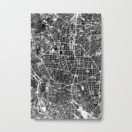 Madrid city map black&white Metal Print