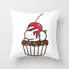 Chubby Bunny on a cupcake Throw Pillow