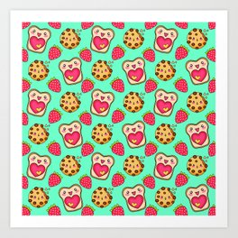 Cute funny sweet adorable happy Kawaii toast with raspberry jam and butter, chocolate chip cookies, red ripe summer strawberries cartoon fantasy pastel green pattern design Art Print