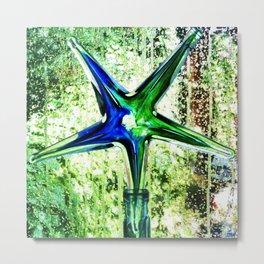 Star glass in wet window Metal Print