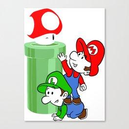 Mario and Luigi chasing the Mushroom Canvas Print
