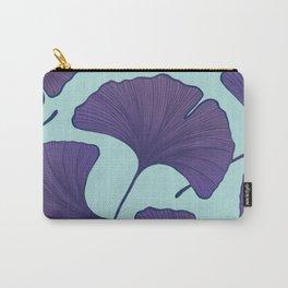 Purple Ginkgo Leaf Pattern Carry-All Pouch