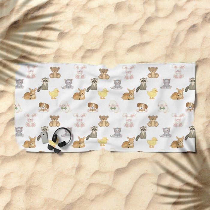 Cute Woodland Farm Baby Animals Nursery Beach Towel