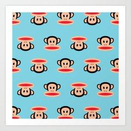 Julius Monkey Pattern by Paul Frank - Blue Art Print