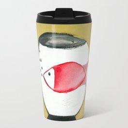 Girl with a fish glas Travel Mug