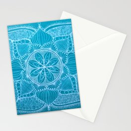 Teal & White Hand-drawn Mandala Stationery Cards
