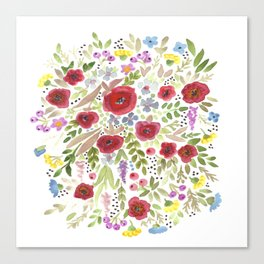 Hand drawn watercolor flowers, cute floral print Canvas Print