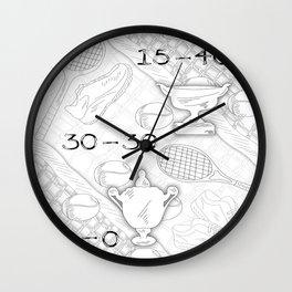 Illustration of Tennis Sport Scene Wall Clock