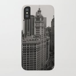 Wrigley Building Chicago Black and White Photo iPhone Case