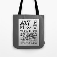 jay z Tote Bags featuring Eye Test - JAY Z by Studio Samantha