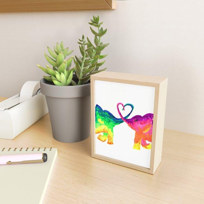 Rainbow Elephant Couple in Love Framed Mini Art Print