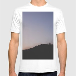 Male silhouetted on mountain top at sunset. Derbyshire, UK T-shirt