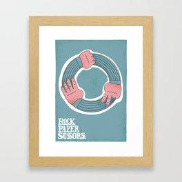 ROCK < PAPER < SCISSORS Framed Art Print