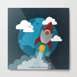 Blast Off Into Space! Metal Print