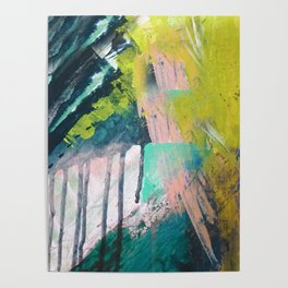 Melt: a vibrant abstract mixed media piece in blues, greens, pink, and white Poster