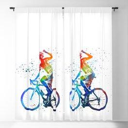 Woman triathlon cycling 03 Blackout Curtain