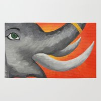 ganesh Area & Throw Rugs featuring Ganesh by Erin Schamberger