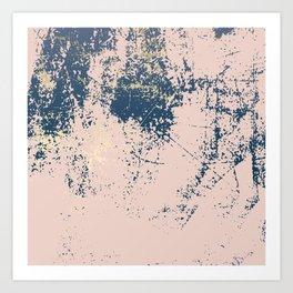 Patina pink navy gold Art Print