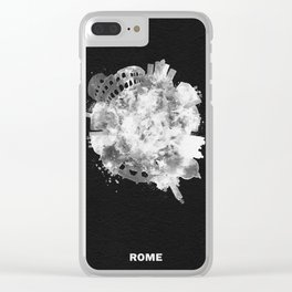Rome, Italy Black and White Skyround / Skyline Watercolor Painting (Inverted Version) Clear iPhone Case