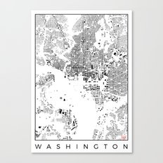 Washington Map Schwarzplan Only Buildings Canvas Print