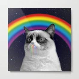 cat all over galaxy rainbow puke Space Crazy Cats Metal Print