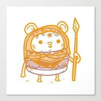 ewok Canvas Prints featuring Cheeseburger Ewok by Philip Tseng