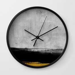 Black and Gold grunge stripes on modern grey concrete abstract backround I - Stripe - Striped Wall Clock
