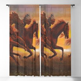 American Natives Riding On Horses Blackout Curtain